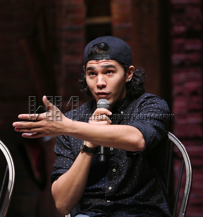 "Anthony Lee Medina during The Rockefeller Foundation and The Gilder Lehrman Institute of American History sponsored High School student #EduHam Q & A  before matinee performance of  ""Hamilton"" at the Richard Rodgers Theatre on 3/29/2017 in New York City."