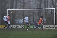 VOETBAL: DRACHTEN: Sportpark 'Drachtster Bos', 24-11-2011, KNVB districtsbeker NOORD, Drachtster Boys-ONS Sneek, Einduitslag 2-3, Curty Gonzales (ONS  #25) scoort de 2-2 en laat doelman Jarno de Jonge (DB  #25) kansloos, ©foto Martin de Jong