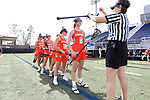 DURHAM, NC - FEBRUARY 16: Campbell's Julia Markey has her stick checked (8). The Duke University Blue Devils hosted the Campbell University Camels on February 16, 2018, at Koskinen Stadium in Durham, NC in women's college lacrosse match. Duke won the game 18-8.