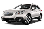 Stock pictures of low aggressive front three quarter view of a 2017 Subaru Outback Premium 5 Door Wagon
