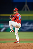 Clearwater Threshers relief pitcher Ismael Cabrera (19) delivers a pitch during a game against the Jupiter Hammerheads on April 9, 2018 at Spectrum Field in Clearwater, Florida.  Jupiter defeated Clearwater 9-4.  (Mike Janes/Four Seam Images)