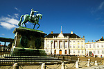 Denmark: Copenhagen, Statue at Amalienborg Square, photo: viking103  .Photo copyright Lee Foster, www.fostertravel.com, 510/549-2202, lee@fostertravel.com
