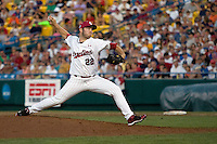 South Carolina pitcher Matt Price in Game 10 of the NCAA Division One Men's College World Series on June 24th, 2010 at Johnny Rosenblatt Stadium in Omaha, Nebraska.  (Photo by Andrew Woolley / Four Seam Images)