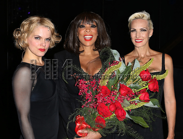 """Amy Spanger, Wendy Williams and Amra-Faye Wright backstage after Wendy Williams makes her Broadway stage debut as Matron """"Mama"""" Morton in CHICAGO at the Ambassador Theatre on July 1, 2013 in New York City."""