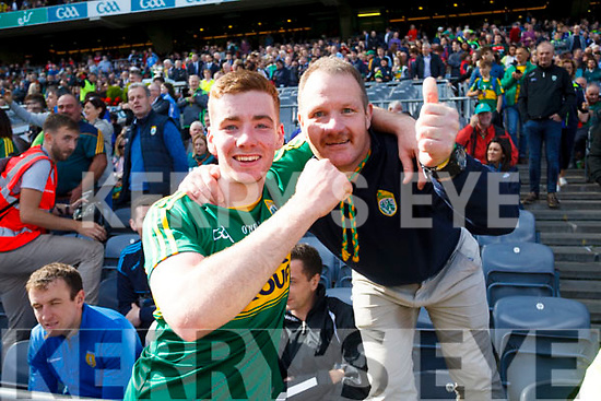 Barry Mahony Kerry celebrates with his father Brendan after defeating Derry in the All-Ireland Minor Footballl Final in Croke Park on Sunday.