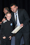 St Johnstone FC Youth Academy Presentation Night at Perth Concert Hall..21.04.14<br /> Callum Davidson presents to Kyle Burns<br /> Picture by Graeme Hart.<br /> Copyright Perthshire Picture Agency<br /> Tel: 01738 623350  Mobile: 07990 594431
