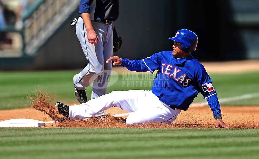 Mar. 10, 2010; Tempe, AZ, USA; Texas Rangers baserunner Ray Olmedo against the Seattle Mariners during a spring training game at Surprise Stadium. Mandatory Credit: Mark J. Rebilas-