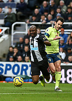9th November 2019; St James Park, Newcastle, Tyne and Wear, England; English Premier League Football, Newcastle United versus AFC Bournemouth; Jetro Willems of Newcastle United goes down after a challenge from Adam Smith of AFC Bournemouth no foul was given -Strictly Editorial Use Only. No use with unauthorized audio, video, data, fixture lists, club/league logos or 'live' services. Online in-match use limited to 120 images, no video emulation. No use in betting, games or single club/league/player publications