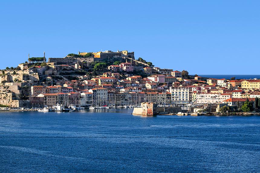 Picturesque town and harbor of Portoferraio, Elba, Italy.