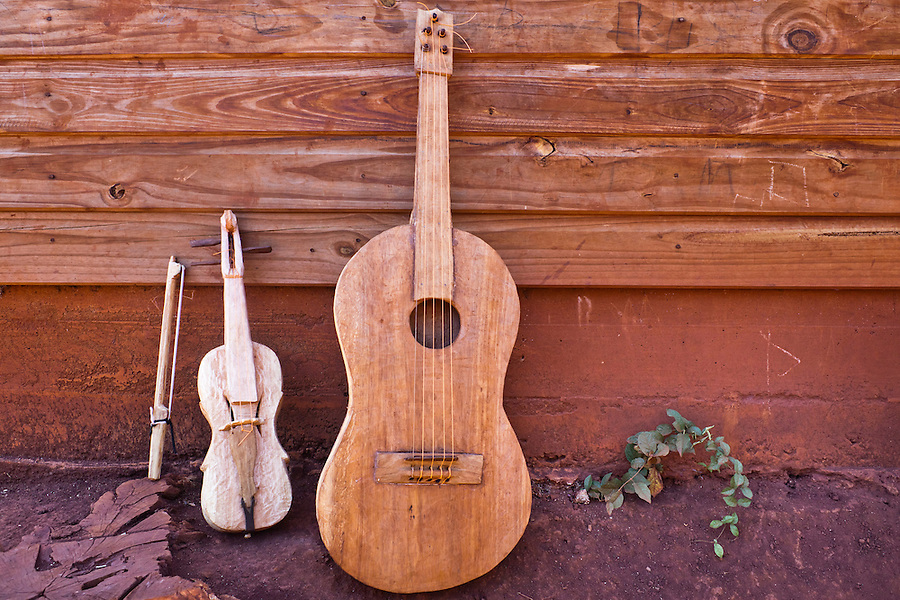 Violin and guitar hand-made by Ramon Duarte, spiritual and cultural elder of katupyry village near San Ignacio, Misiones, Argentina.