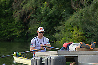 """Henley on Thames, United Kingdom, 3rd July 2018, Sunday,  """"Henley Royal Regatta"""", The Diamond Challenge Sculls, Finalist, Kjetil BORCH NOR M1X, waits at the Start,  View, Henley Reach, River Thames, Thames Valley, England, UK."""