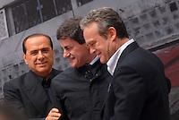 march 2008. Rome. Gianni Alemanno, sindaco di Roma  con berlusconi ed antoniozzi© Claudio Vitale