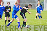 Kingdom Boys Mike Kelliher holds off the challenge of Corbally's Aaron .Kelly in action in the U13 national cup at Cahermoneen, Tralee on Saturday..