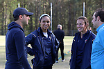 CARY, NC - APRIL 08: Courage players Darian Jenkins (second from left) and Claire Wagner (second from right) with UNC assistant coach Damon Nahas (left) and Courage press officer Marco Rosa (right). The NWSL's North Carolina Courage played a preseason game against the University of North Carolina Tar Heels on April 8, 2017, at WakeMed Soccer Park Field 3 in Cary, NC. The Courage won the match 1-0.
