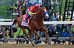 ELMONT, NY - JUNE 09: Justify  #1, ridden by Mike Smith,  wins the Belmont Stakes on Belmont Stakes Day at Belmont Park on June 9, 2018 in Elmont, New York. (Photo by Kazushi Ishida/Eclipse Sportswire/Getty Images)
