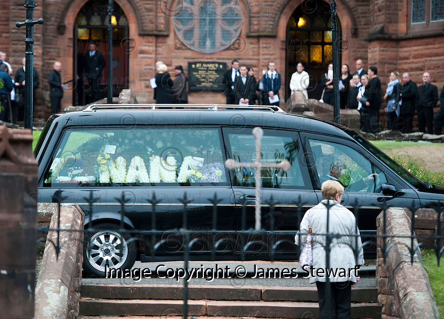 The coffin of former crime family matriarch Mags Haney arrives at St Mary's RC Church in Stirling.