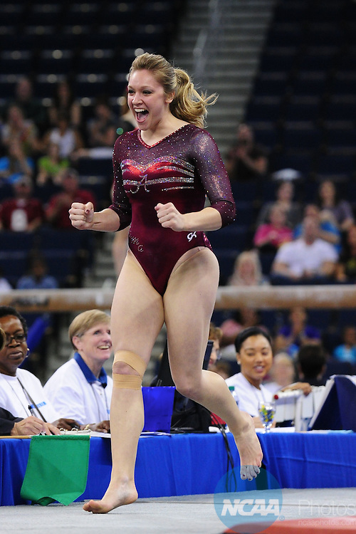 21 APR 2012:  Geralen Stack-Eaton of the University of Alabama celebrates after finishing her routine on the vault during the Division I Women's Gymnastics Championship held at the Gwinnett Center Arena in Duluth, GA. Joshua Duplechian/NCAA Photos