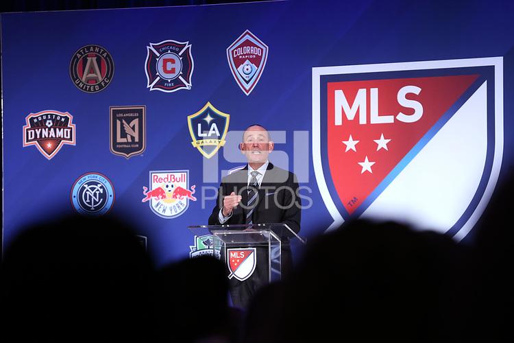 Philadelphia, PA - Thursday January 18, 2018: Major League Soccer Commissioner Don Garber. The 2018 MLS League Meetings were held at the Philadelphia Marriott Downtown.