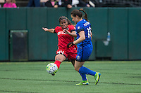 Seattle, Washington - Saturday May 14, 2016: Portland Thorns FC defender Meg Morris (44) and Seattle Reign FC defender Kendall Fletcher (13) during the first half of a match at Memorial Stadium on Saturday May 14, 2016 in Seattle, Washington. The match ended in a 1-1 draw.
