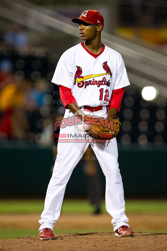 Samuel Freeman (12) of the Springfield Cardinals on the mound during a game against the Tulsa Drillers at Hammons Field on July 19, 2011 in Springfield, Missouri. Tulsa defeated Springfield 17-11. (David Welker / Four Seam Images)