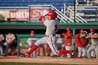 Auburn Doubledays Ricardo Mendez (3) bats during a NY-Penn League game against the Batavia Muckdogs on June 19, 2019 at Dwyer Stadium in Batavia, New York.  Auburn defeated Batavia 5-0 in the second game of a doubleheader.  (Mike Janes/Four Seam Images)