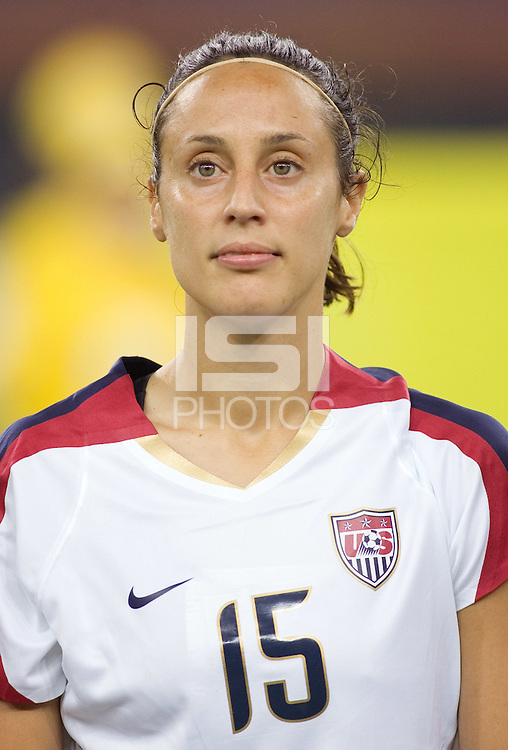 Kate Markgraf. The USA defeated England, 3-0 during the quarterfinals of the FIFA Women's World Cup in Tianjin, China.  The USA defeated England, 3-0.