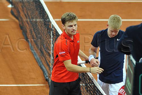 27.11.2015. Belgium. Davis Cup Final, Great Britain versus Belgium. Day 1 play.  David Goffin (Bel) defeats Kyle Edmund 3-6 1-6 6-2 6-1 6-0 to make the tie 1-0 to Belgium