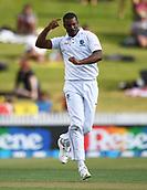 9th December 2017, Seddon Park, Hamilton, New Zealand; International Test Cricket, 2nd Test, Day 1, New Zealand versus West Indies;  West Indies bowler Shannon Gabriel celebrates the wicket of Santner