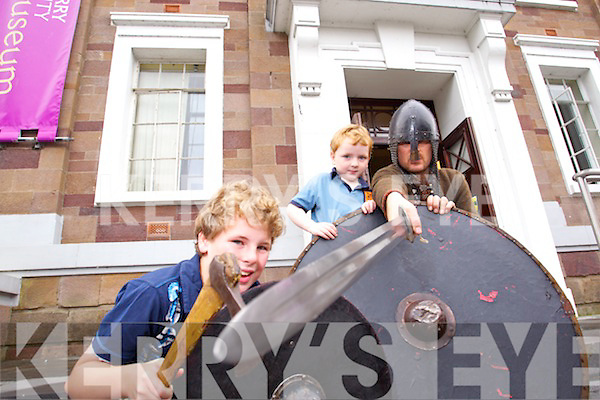 Claíomh's Dave Swift pictured at Kerry County Museum on Friday for the Viking Display as part of Heritage Week. Pcitured with Dave were Dylan and Michael Duffy from Abbeydorney.