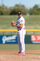 Mesa Solar Sox relief pitcher Brett Hanewich (53), of the Los Angeles Angels organization, gets ready to deliver a pitch during an Arizona Fall League game against the Surprise Saguaros at Sloan Park on November 15, 2018 in Mesa, Arizona. Mesa defeated Surprise 11-10. (Zachary Lucy/Four Seam Images)