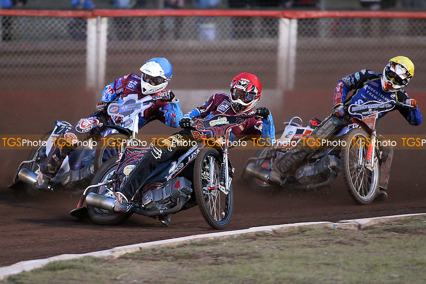 Heat 5: Adam Shields (red), Stuart Robson (blue) and Tomas Topinka - Lakeside Hammers vs King's Lynn Stars - Elite League Speedway at Arena Essex Raceway - 21/05/11 - MANDATORY CREDIT: Gavin Ellis/TGSPHOTO - Self billing applies where appropriate - Tel: 0845 094 6026