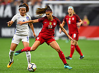 New Orleans, LA - Thursday October 19, 2017: Cho Sohyun, Alex Morgan during an International friendly match between the Women's National teams of the United States (USA) and South Korea (KOR) at Mercedes Benz Superdome.