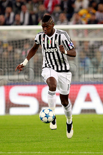30.09.2015. Turin, Italy. Champions League. Juventus versus Sevilla. Paul Pogba in action for Juventus