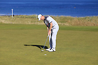 Michael Hoey (NIR) on the 7th green during Round 1 of the 2015 Alfred Dunhill Links Championship at Kingsbarns in Scotland on 1/10/15.<br /> Picture: Thos Caffrey | Golffile