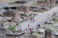Rome 2010..Roman Forum, view from Campidoglio..Foro Romano-Palatino, Turisti