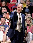 Coach Brad Soderberg of the University of Wisconsin looks on against the Xavier Musketeers at the Kohl Center in Madison, WI, on 12/15/2000. (Photo by David Stluka)