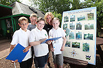 Children from Deri View Primary School visiting Welsh Water Education Centre in Cilfynydd..Pupils Kallum Dutson, Kirk Green, Chloe Williams & Bethan Phillips with teacher Sharon Phillips taking part in an orienteering lesson..28.05.12.©Steve Pope