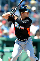 Miami Marlins outfielder Justin Ruggiano #20 during a Spring Training game against the Boston Red Sox at JetBlue Park on March 27, 2013 in Fort Myers, Florida.  Miami defeated Boston 5-1.  (Mike Janes/Four Seam Images)