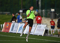 Kansas City, MO - Saturday May 07, 2016: Houston Dash goalkeeper Lydia Williams (18) before a regular season National Women's Soccer League (NWSL) match at Swope Soccer Village. Houston won 2-1.