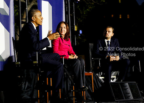United States President Barack Obama, left, Leonardo DiCaprio, right, and Dr. Katharine Hayhoe, center, have a a panel discussion on climate change as part of the White House South by South Lawn (SXSL) event about the importance of protecting the one planet we&rsquo;ve got for future generations, on the South Lawn of the White House, Washington DC, October 3, 2016. <br /> Credit: Aude Guerrucci / Pool via CNP