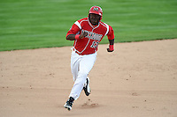 Batavia Muckdogs outfielder K.J. Woods (13) running the bases during the first game of a doubleheader against the Williamsport Crosscutters on July 29, 2014 at Dwyer Stadium in Batavia, New York.  Williamsport defeated Batavia 3-2.  (Mike Janes/Four Seam Images)