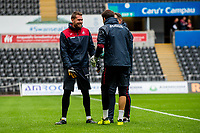 (L-R) Kristoffer Nordfeldt, Lukasz Fabianski and Tony Roberts, goalkeepeing coach during the Swansea City Training Session at The Liberty Stadium, Swansea, Wales, UK. 02 August 2017