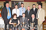 Cork and Knocknagree Junior footballer with the All Ireland and Munster Championships Junior trophies at the Knocknagree GAA social in the River Island Hotel Castleisland on Saturday night front row l-r: Mary O'Connor, Matthew Dilworth, Timmy O'Sullivan. Back row: Gene McSweeney, Seamus Moynihan, Donal Dunlea, Brendan Hickey, Jer Moynihan and Danny Brosnan..........