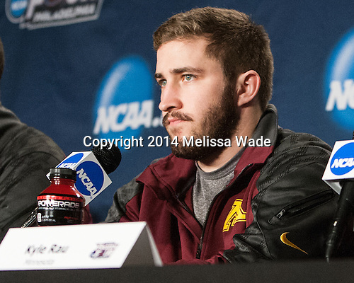 Kyle Rau (MN - 7) - The University of Minnesota Golden Gophers took part in a press conference and practice on Friday, April 11, 2014, during the 2014 Frozen Four at the Wells Fargo Center in Philadelphia, Pennsylvania.