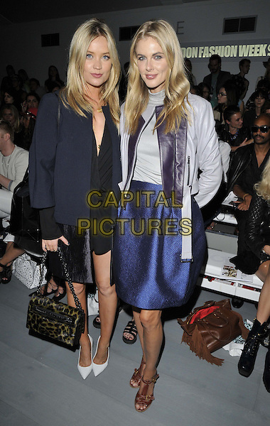 LONDON, ENGLAND - SEPTEMBER 12: Laura Whitmore &amp; Donna Air attend the Felder Felder S/S15 catwalk show, LFW Day 1, BFC Showspace, Somerset House  the Strand, on Friday September 12, 2014 in London, England, UK. <br /> CAP/CAN<br /> &copy;Can Nguyen/Capital Pictures