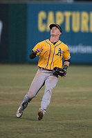 AZL Athletics right fielder Greg Deichmann (6) settles under a fly ball during an Arizona League game against the AZL Angels at Tempe Diablo Stadium on June 26, 2018 in Tempe, Arizona. The AZL Athletics defeated the AZL Angels 7-1. (Zachary Lucy/Four Seam Images)