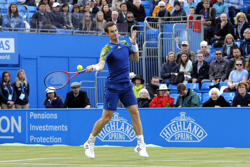 Andy Murray (GBR) in action today during his victory over Jo Wifried-Tsonga (FRA) in their Mens Singles Semi Finals Round Match - Andy Murray(GBR) def Jo Wilfried Tsonga (FRA) 4-6 6-3 6-2<br /> <br />  (Photo by Karyn Haddon/CameraSport)<br /> <br /> Tennis - ATP 250 World Tour - AEGON Championships - Day 6 - Saturday 15th June 2013 - Queen's Club - London <br /> <br /> &copy; CameraSport - 43 Linden Ave. Countesthorpe. Leicester. England. LE8 5PG - Tel: +44 (0) 116 277 4147 - admin@camerasport.com - www.camerasport.com