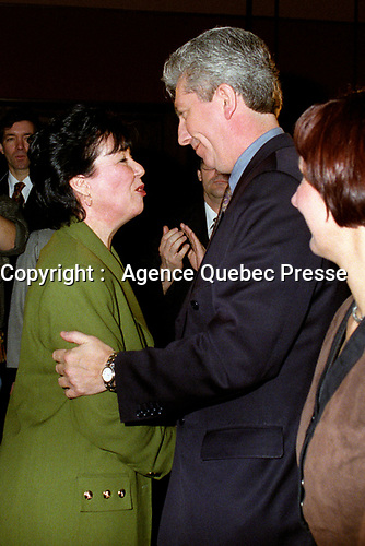 Montreal (Qc) CANADA -Feb 17 1996 File Photo-<br /> Leadership candidate  Francine Lalonde (L) talk with  Gilles Duceppe after (M) and his wife, after<br /> Michel Gauthier  got elected as leader of the BLOC QUEBCOIS, February 17, 1996. Later he will be replaced by Gilles Duceppe.