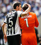 Shaun Pearson of Grimsby Town consoles James McKeown of Grimsby Town after defeat in the 2015 Vanarama Conference Promotion Final match between Grimsby Town and Bristol Rovers at Wembley Stadium, London<br /> Picture by David Horn/eXtreme aperture photography +44 7545 970036<br /> 17/05/2015