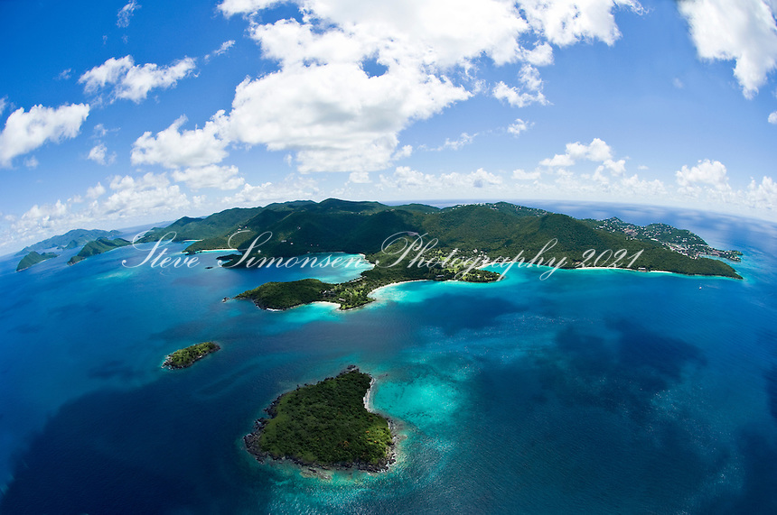 Aerial View of St John<br /> Henley Cay and Caneel Bay in foreground<br /> St. John<br /> U.S. Virgin Islands